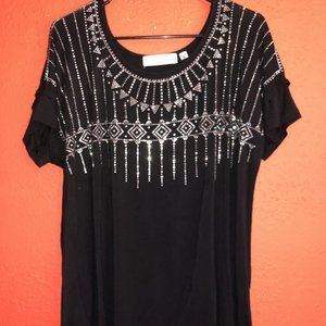 Tempted Hearts Women's XL Black and Silver Top